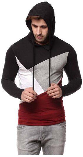TREND FULL Men Regular Fit Cowl Neck Geometric T-Shirt - Black