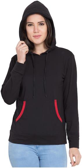 Trendey Tiska Women Embroidered Hoodie - Black