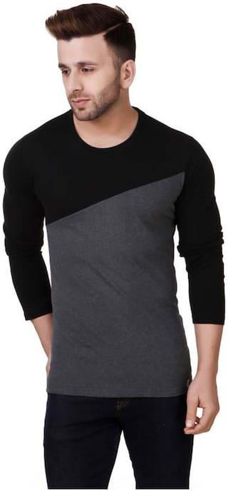 TREND FULL Men Black Slim fit Cotton Crew neck T-Shirt - Pack Of 1