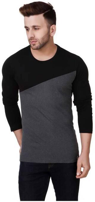 TREND FULL Men Slim fit Crew neck Solid T-Shirt - Black