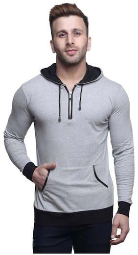 1a10aefdbfa5b TREND FULL Men Slim Fit Mandarin Collar Solid T-Shirt - Grey