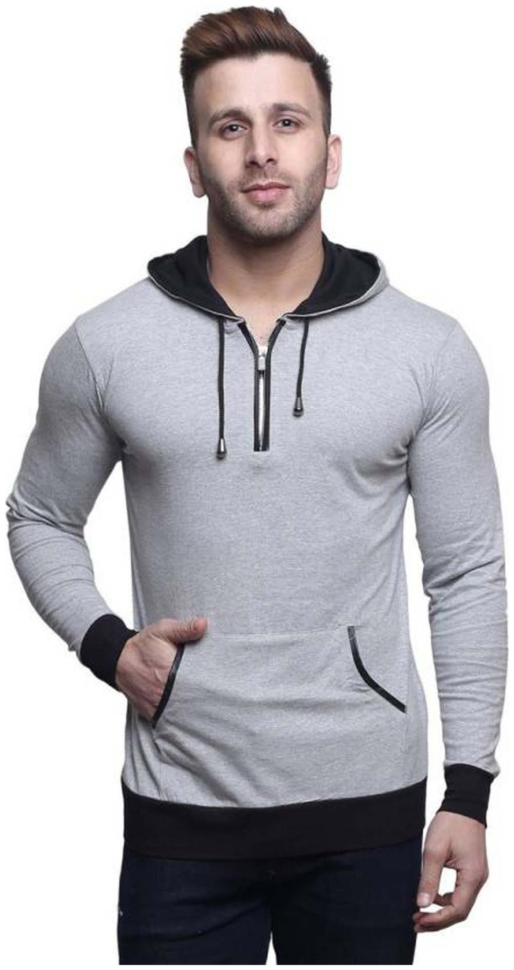 TREND FULL Men Slim fit Mandarin collar Solid T Shirt   Grey