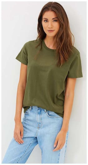 TRENDS TOWER Women Green Slim fit V neck Cotton T shirt