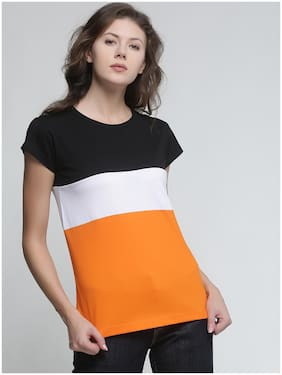 TRENDS TOWER Women Orange Regular fit Round neck Cotton T shirt