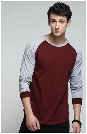 TRENDS TOWER Men Maroon Regular fit Cotton Round neck T-Shirt - Pack Of 1