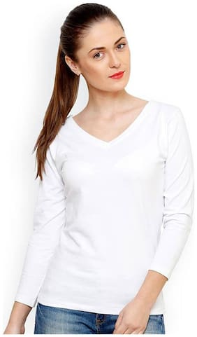 TRENDS TOWER Women Solid Regular top - White