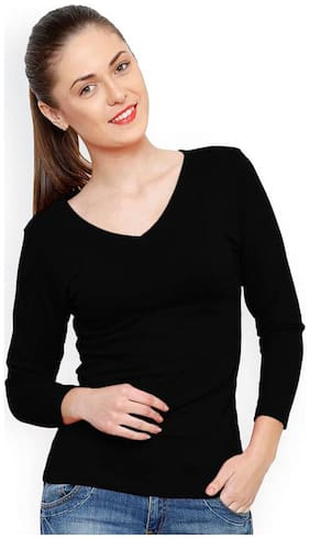 TRENDS TOWER Women Solid Regular top - Black