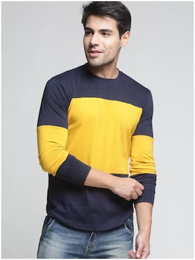 TRENDS TOWER Men Navy blue Regular fit Cotton Round neck T-Shirt - Pack Of 1