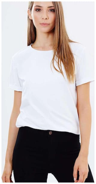 TRENDS TOWER Women White Slim fit Round neck Cotton T shirt