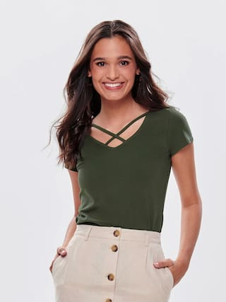 Trends Tower Women Olive Regular Fit V Neck Short Top