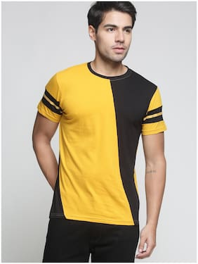 TRENDS TOWER Men Yellow Regular fit Cotton Round neck T-Shirt - Pack Of 1