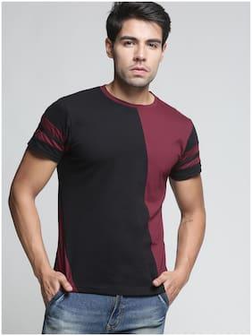 TRENDS TOWER Men Black Regular fit Cotton Round neck T-Shirt - Pack Of 1
