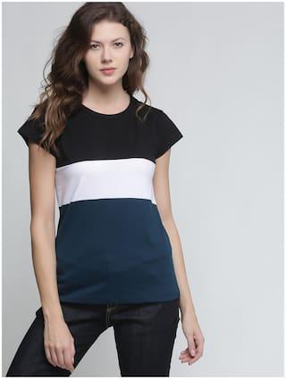 TRENDS TOWER Women Green Regular fit Round neck Cotton T shirt