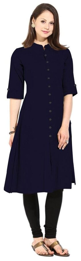 Flavia Creation Women Cotton Solid Straight Kurta - Blue