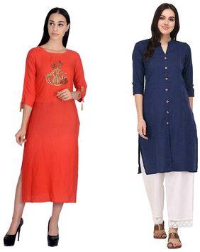 Trendy Design Peach Rayon Kurti with Royal Blue Cotton kurti
