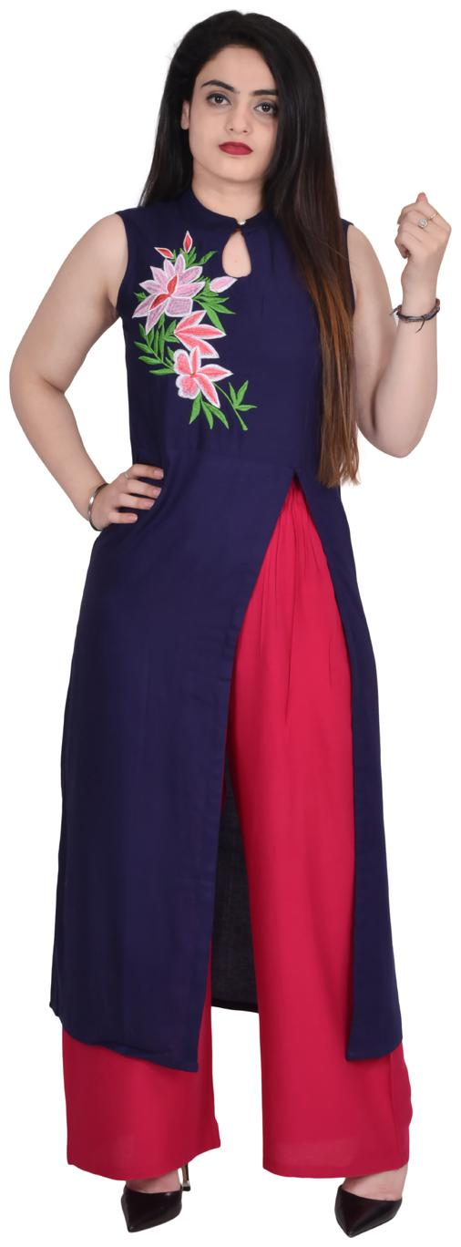 Flavia Creation Women Blue Embroidered Straight Kurti