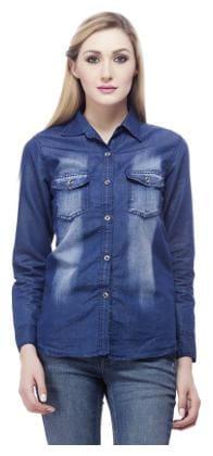 dd4b6a77729 Buy Trendy Frog Women Dark monk full denin shirt Blue X-Large Online ...