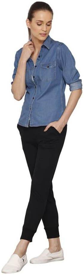 Trendy Frog Women Long Sleeve Solid Denim Shirt Top;Blue;Medium Size