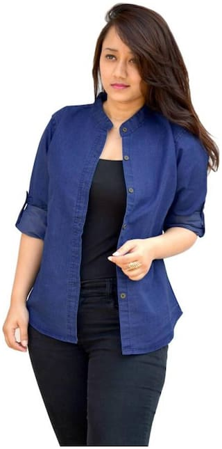 Trendy Frog Women Long Sleeve Solid Denim Shirt Top;Blue;X-Large Size