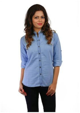 Trendy Frog Women Long Sleeve Solid Denim Shirt Top;Light Blue;Medium Size