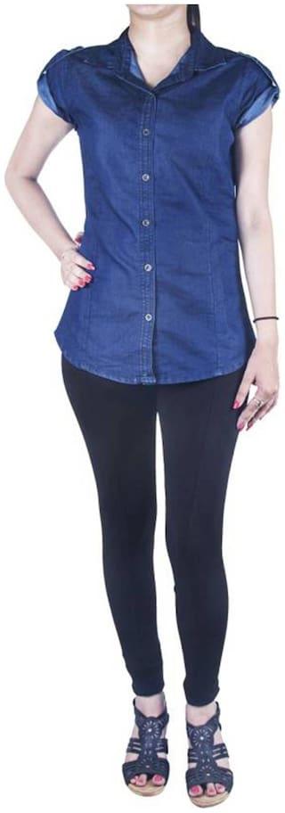Lady Bird Women Blue Solid Regular Fit Shirt
