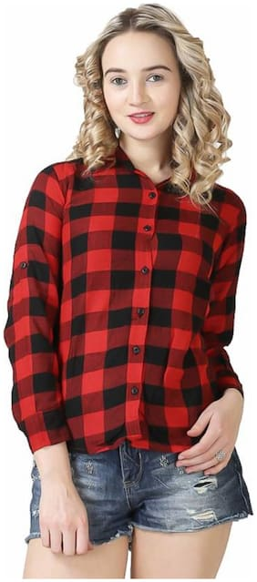 Trendy Frog Women Long Sleeve Cotton Checker Shirt;X-Large Size