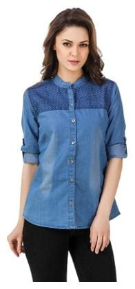 e5a5f15e979ad5 Trendy Frog Women Long Sleeve Solid Denim Shirt Top with Embroiderry;Light  Blue;X