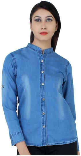 Trendy Frog Women Long Sleeve Monkey Wash Denim Shirt Top;Blue;Small Size