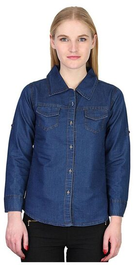 Trendy Frog Women Long Sleeve Solid Denim Shirt Top;Blue;X-Large Size