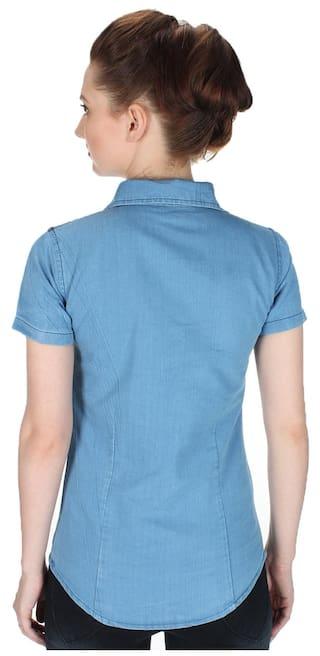 Frog Denim Half Top;Light Blue;Large Solid Trendy Women Shirt Size Sleeve T7qaRxad