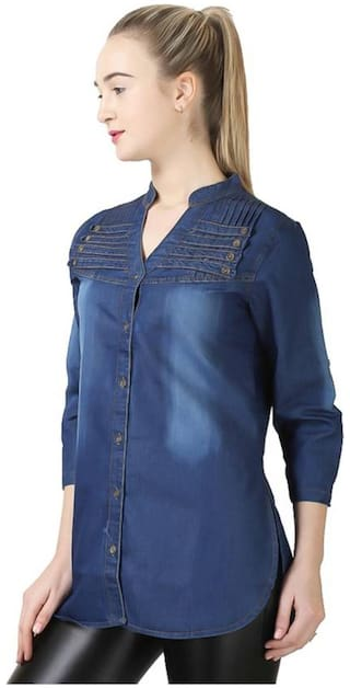Shirt;Blue;Large Multi Dark Women Denim Trendy Frog Full button Tq4WFw