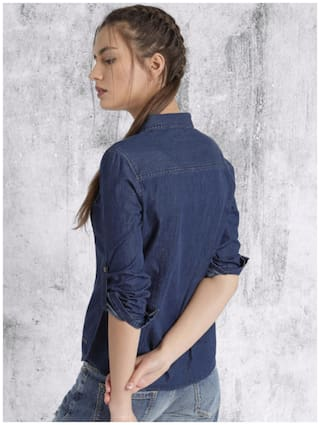 Women Frog Full Dark TP Trendy Shirt;Blue;Medium Denim 5dnq05