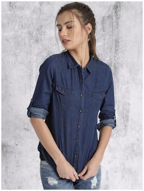 Trendy frog Women Regular fit Solid Shirt - Blue