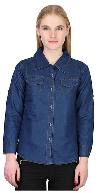 Trendy Frog Women Long Sleeve Solid Denim Shirt Top;Blue;Small Size