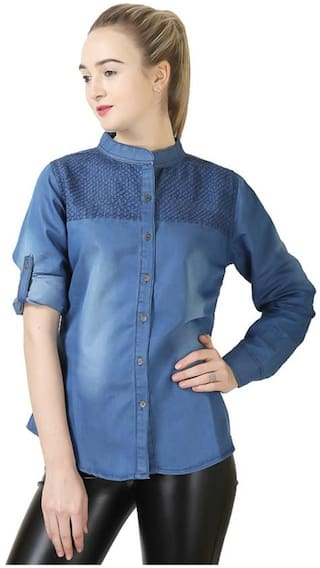 Long Embroiderry;Light Shirt Solid Blue;Small Denim Top with Women Size Sleeve Frog Trendy qw6zEE