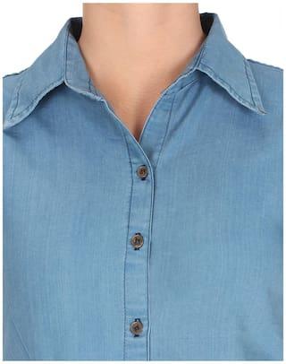 Sleeve Top;Light Shirt Frog Size Blue;Large Solid Trendy Denim Women Half qYtPnnF0