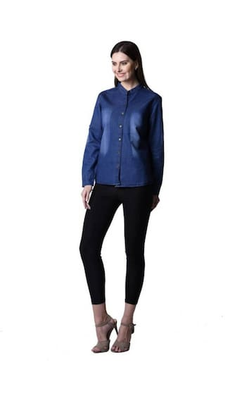 Long Shirt Denim Sleeve Women Wash Top;Blue;Small Size Monkey Trendy Frog 6Hq0wSnE