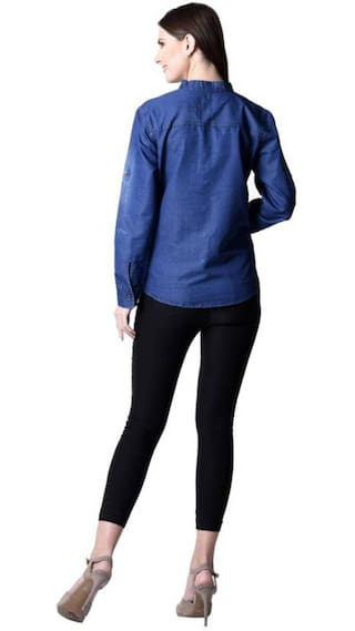 Denim Trendy Wash Frog Sleeve Size Long Top;Blue;Large Women Shirt Monkey Yq7r6Yw