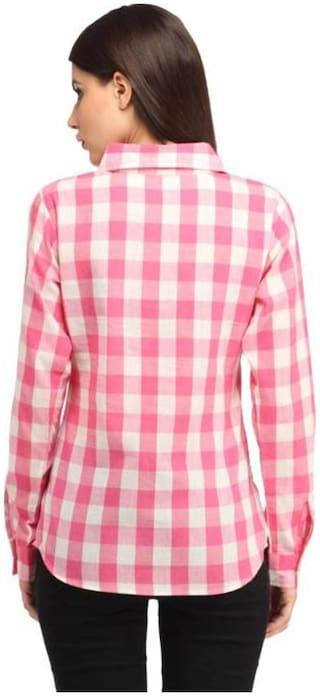 Check Trendy Cotton White Shirt Pink Women Frog 1qxIwq4R