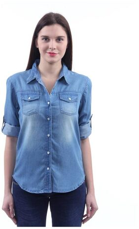 Trendy Frog Women Light Monk Full Denim Shirt;Blue;Large