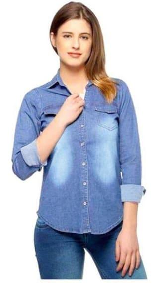 Trendy Frog Women Light Monk full denim shirt;Blue;Large