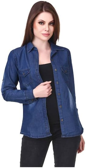 Trendy frog Women Blue Solid Regular Fit Shirt