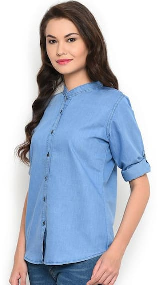 Shirt Women Chinease Frog Full Denim Plain Trendy Light Tx0qnHa