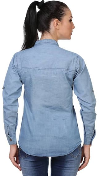 Shirt;Blue;Medium full Frog denim Light Women Chinese Trendy plain vxAww