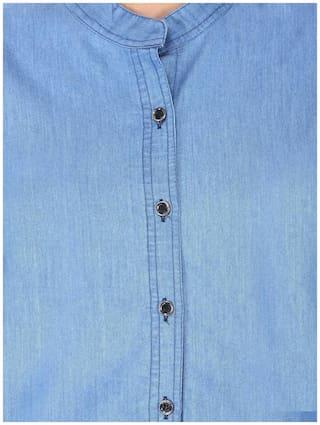 Light Women shirt;Blue;Small Trendy Frog denim full Chinease plain UCx1gEwq