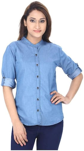 Trendy frog Women Slim fit Solid Shirt - Blue