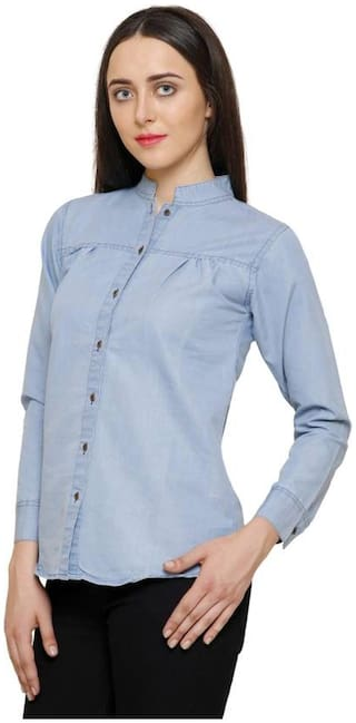 Shirt Denim Full Trendy China Bandi Light Women Frog xxO1aT
