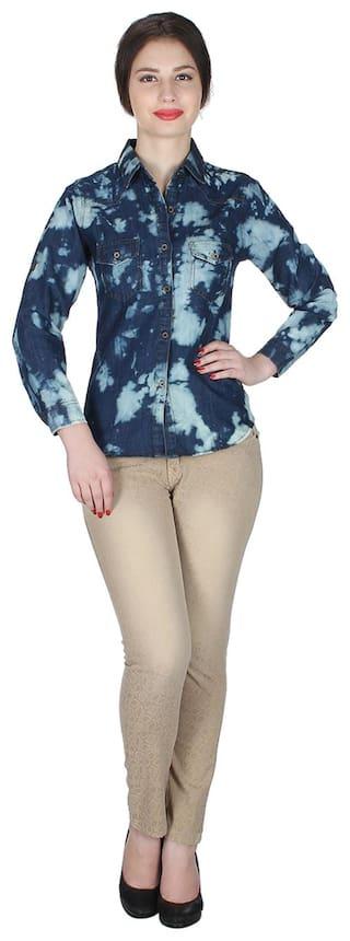 Solid Size Frog Trendy Top;Blue;Small Denim Sleeve Long Women Shirt vIZZnf8