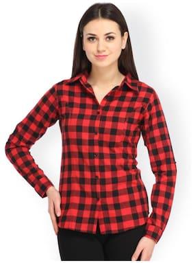 Trendy Frog Women Long Sleeve Cotton Checker Shirt;Large Size