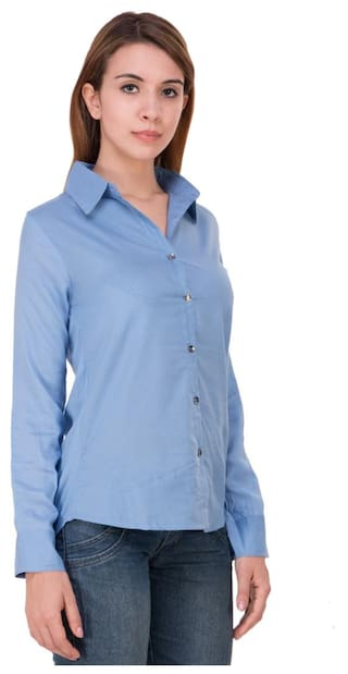 Shirt;Light Sleeve Blue;Large Trendy Solid Long Size Rayon Frog Women axwqwUY